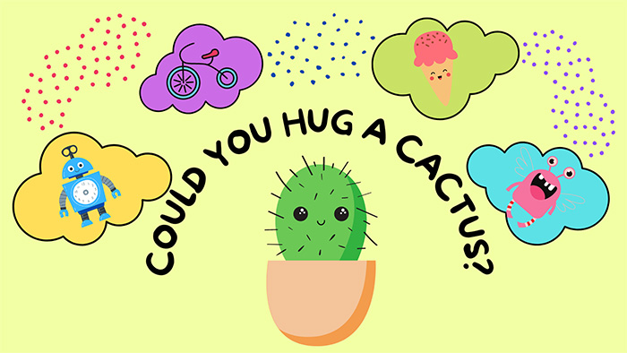 A green cactus in a brown pot with black pokey needles and a smiley face, imagining friends to hug including a pink crab, an ice cream cone, a bicycle and a blue robot.
