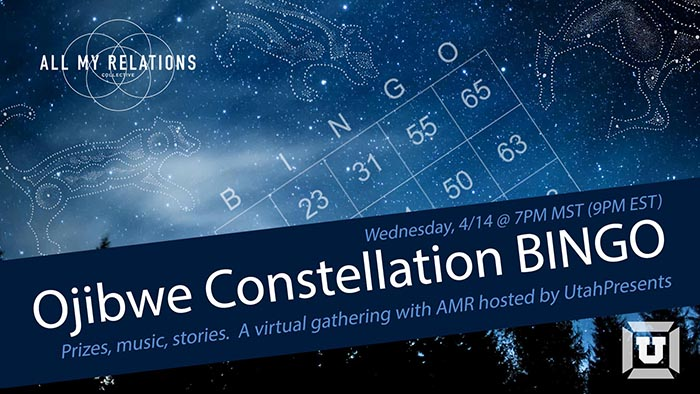 Graphic text with the information of the event over a background of silhouetted trees against a bright blue night sky full of stars. Ojibwe constellation drawings of a panther, fischer, and moose sparkle amongst the stars surrounding the white lines of a Bingo card.